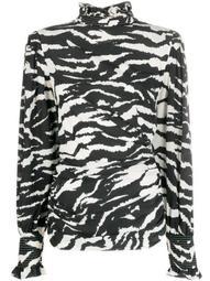 zebra-print high-neck blouse
