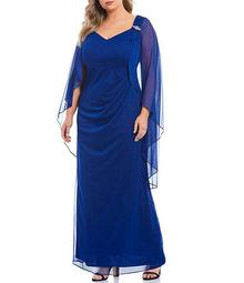 Plus Size Matte Jersey Cape Gown
