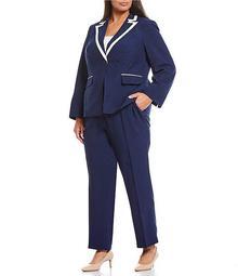 Plus Size Contrast Trim 2-Piece Crepe Pant Suit
