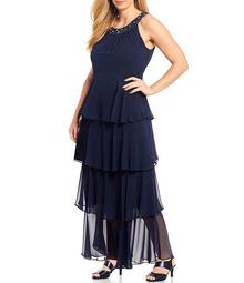 Plus Size Sleeveless Beaded Halter Neck Tiered Chiffon Dress