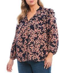 Plus Size Rumer Floral Print Split V-Neck 3/4 Sleeve Ruffle Detail Top