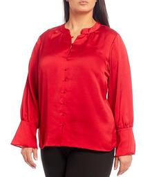 Plus Size Solid Woven Texture Mandarin Collar Long Sleeve Bell Cuff Button Front Blouse