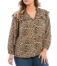 Plus Size Rumer Leopard Print Split V-Neck 3/4 Sleeve Ruffle Detail Top