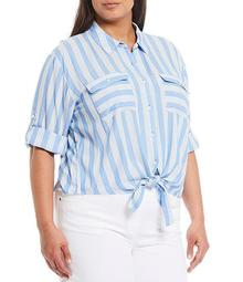 Plus Size Stripe Elbow Sleeve Tie Front Shirt
