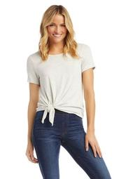 Textured Side-Tie Top, Heather Gray