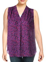 Vince Camuto Womens Plus Floral Print V-Neck Tank Top Purple 1X