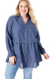 Roaman's Women's Plus Size Chambray Babydoll Tunic