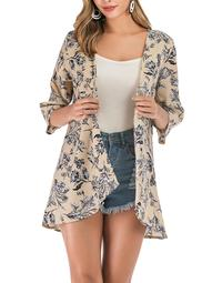 Plus Size Women's Kimono Cardigan Coat Blouse Tops Floral Print Half Sleeve Casual Cardigan Beach Cover up