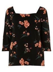 **DP Curve Black Floral Print Square Neck Top