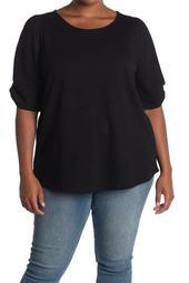 Eyelet Puff Sleeve T-Shirt (Plus Size)