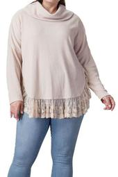 Lace Hem Cowl Neck Sweater (Plus Size)