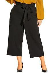 Stylish Tie Waist Crop Wide Leg Pants
