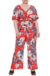 Tropical Print Jumpsuit (Plus Size)