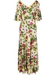 rose print bias cut dress