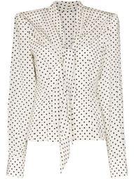 square-shoulder polka dot blouse