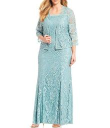 Plus Size Embroidered Stretch Lace Square Neck Jacket Dress