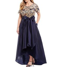Plus Size Bow Waist Embroidered Sequin Lace Hi-Low Mikado Skirt Ball Gown