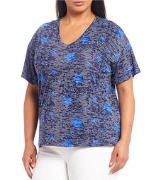 Plus Size Blue Star Short Sleeve V-Neck Tee