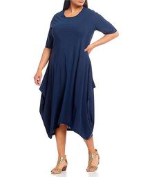 Plus Size Chelsea Short Sleeve Microfiber Jersey Handkerchief Hem Midi Dress