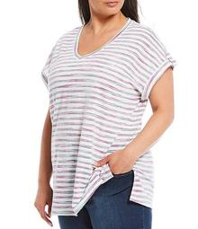 Plus Size Multi Stripe Short Sleeve V-Neck Cotton Blend Top