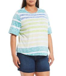 Plus Size Horizon Stripe Short Sleeve Crew Neck Tee
