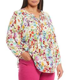 Plus Size Sunsation Floral 3/4 Sleeve Pintuck Popover Top