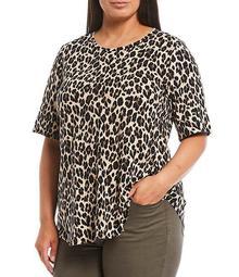 Plus Size Neutral Leopard Short Sleeve Crew Neck Tee