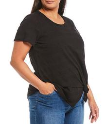 Plus Size Short Sleeve Asymmetric Tie Front Cotton Blend Top