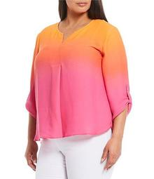 Plus Size 3/4 Roll-Tab Sleeve V-Neck Ombre Top
