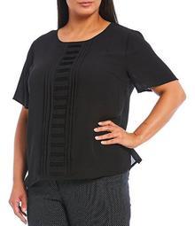 Plus Size Short Sleeve Pleat Front Top