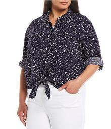 Plus Size Starry Night Elbow Sleeve Tie Front Shirt