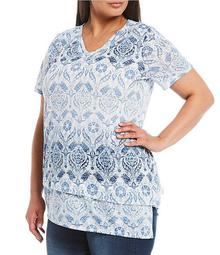Plus Size Signature Motif Short Sleeve Asymmetric V-Neck Tunic