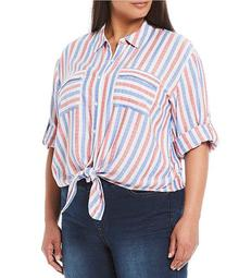 Plus Size Red/Blue Stripe Elbow Sleeve Tie Front Shirt