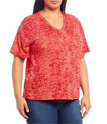 Plus Size Red Star Short Sleeve V-Neck Tee