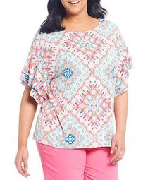 Plus Size Knit Capri Kaleidoscope Print Ballet Neck Ruffle Elbow Sleeve Top