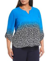 Plus Size 3/4 Roll-Tab Sleeve V-Neck Animal Ombre Top