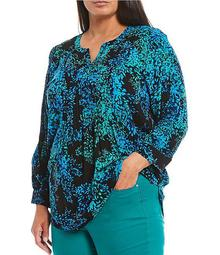Plus Size Breezy Blossom 3/4 Sleeve Pintuck Popover Top