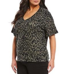 Plus Size Olive Leopard Print Short Sleeve V-Neck Tee