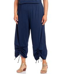 Plus Size Microfiber Jersey Ruched Ankle Pant