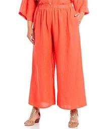 Plus Size Light Linen Wide Leg Pull-On Flood Pant