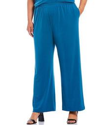 Plus Size Straight Leg Pull-On Pants with Pockets