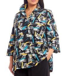 Plus Size Button Front Wire Collar Confetti Print Jacket