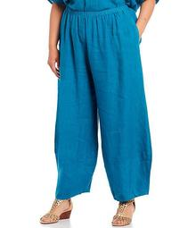 Plus Size Oliver Light Linen Pull-On Lantern Pant