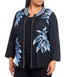 Plus Size Round Neck Long Sleeve Knit Floral Jacket