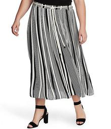 Plus Size Striped Belted Midi Skirt