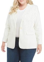 Plus Size Stripe Cotton Blazer