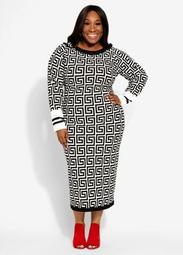 Geo Colorblock Midi Dress