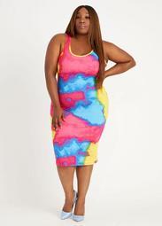 Double Scoop Tie Dye Bodycon Dress