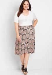 Plus Size Paisley Print Wrap Skirt