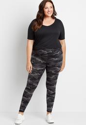 Plus Size High Rise Camo Active Full Length Legging